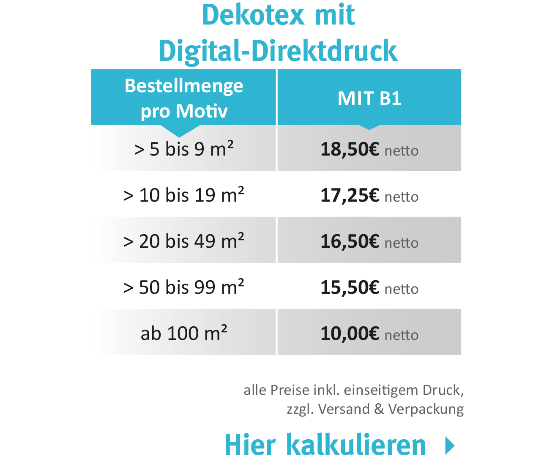 Druck auf Deko-Tex günstiger - aktuelle Aktion